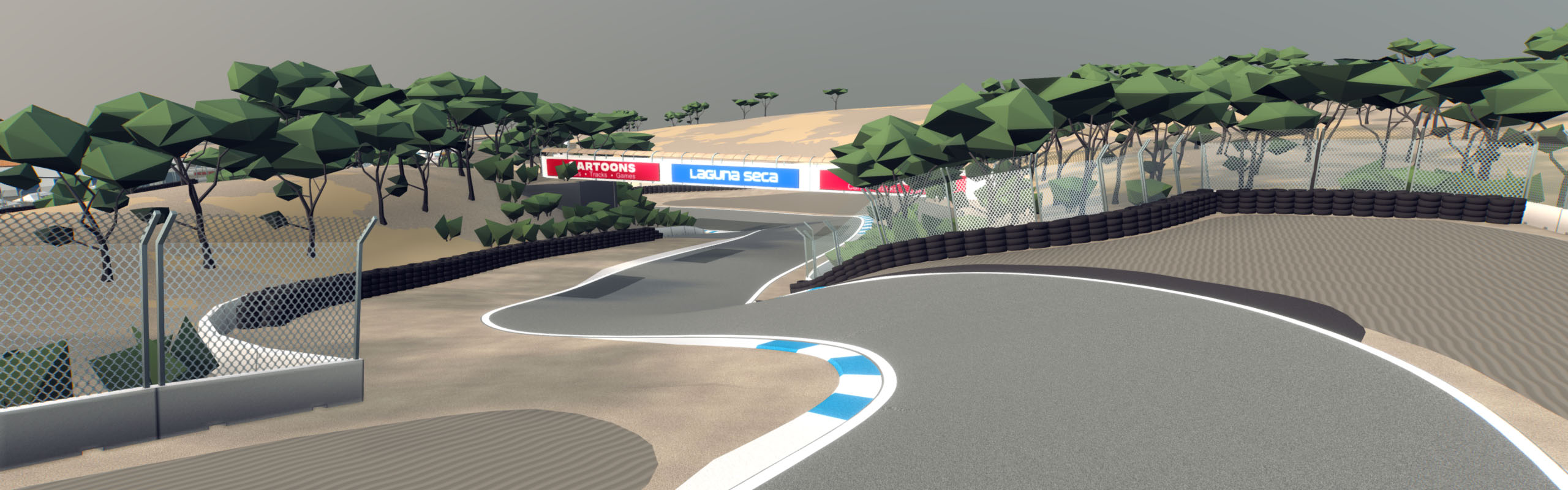 Cartoon Style Race Track Laguna Seca